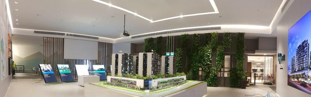 Artificial vertical garden in condominium showroom