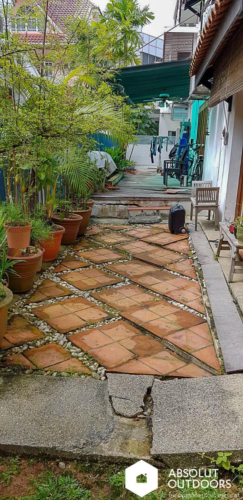 Cracks in the garden floor