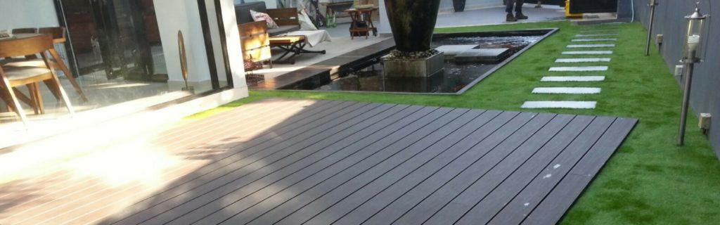 Artificial grass and decking design