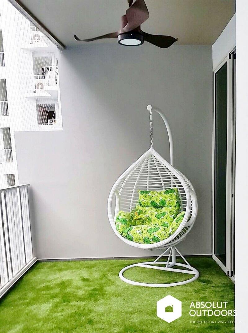 White Swing Reading Corner on Balcony
